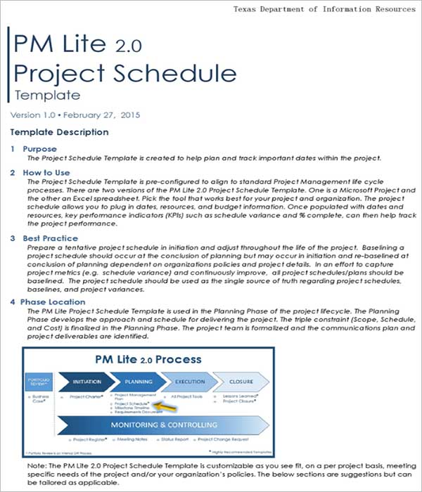 Project Schedule Network Template