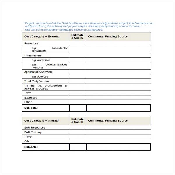 Project Scope Template Word
