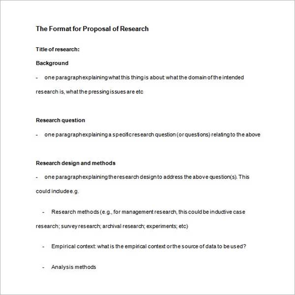 Research Outline Proposal Template