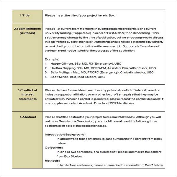 Research Proposal Template Excel