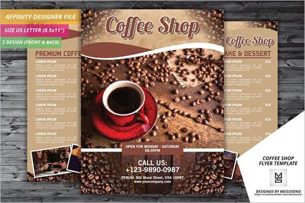 menu card Coffee Shop Flyer Design