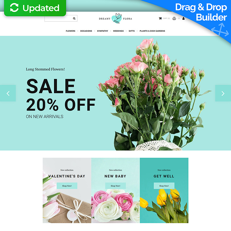 Dreamy Flora - Flower Shop MotoCMS Ecommerce Template