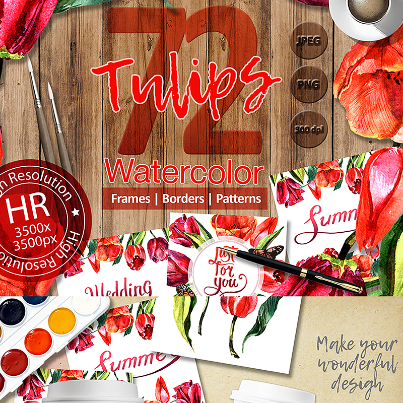 Stunning Red Tulips PNG Watercolor Set Illustration