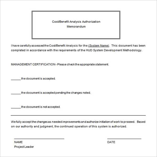 Benefits Cost  Analysis Proposal Template