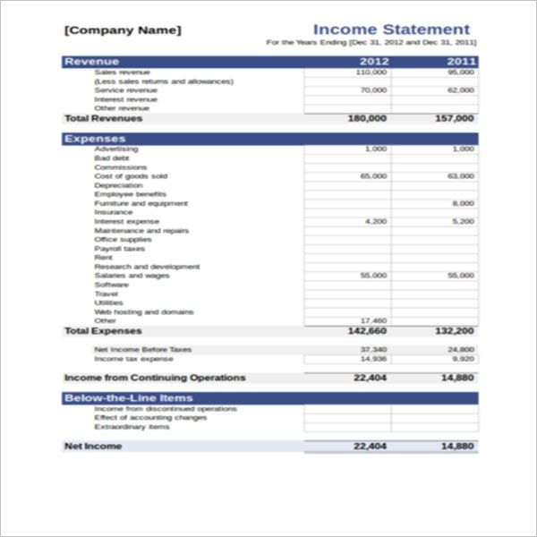 Best Yearly Income Statement Template