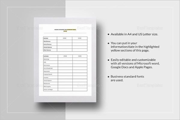 Blank Yearly Income Statement Template