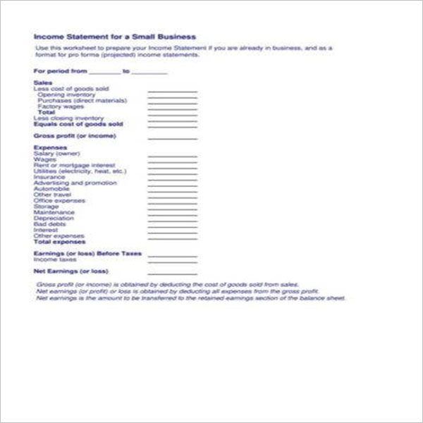 Business Yearly Income Statement Template