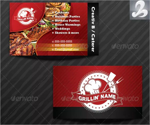 Colorful Catering Services Business Card