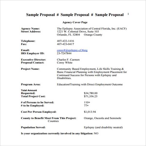 Contract Cost Proposal Template