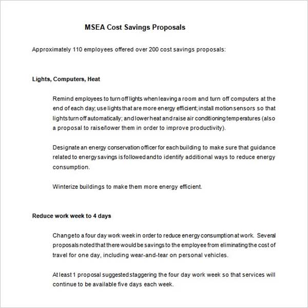 Cost Proposal Excel Template