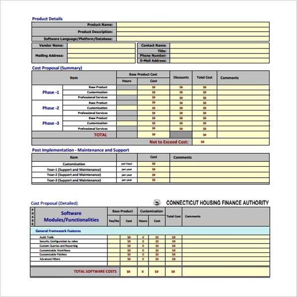 Cost Proposal PDF Template