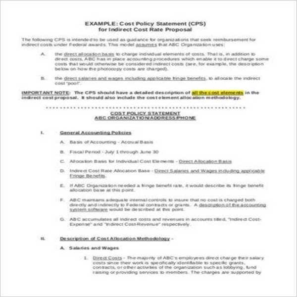 Cost Proposal Template Google Sheet