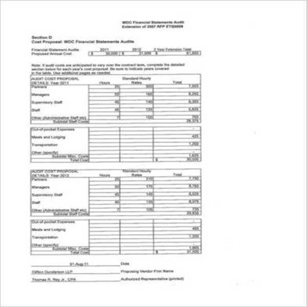 Cost Proposal Template Word DOC