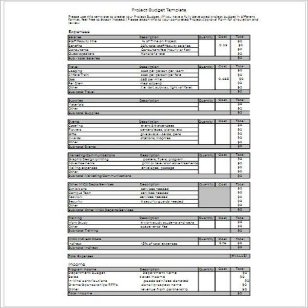 Financial Project Budget Template
