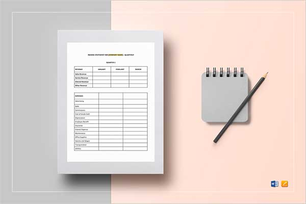 Free Monthly Income Statement Template
