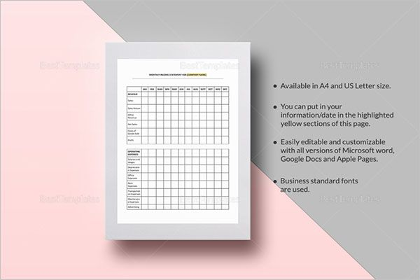 General Income Statement Template
