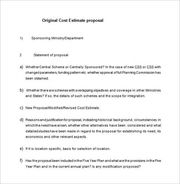 Manufacturing Cost Proposal Template