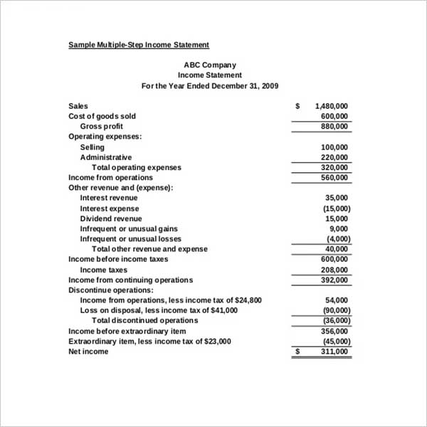 Monthly Income Statement Document Template