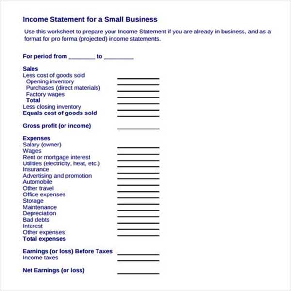 Monthly Income Statement Format Example