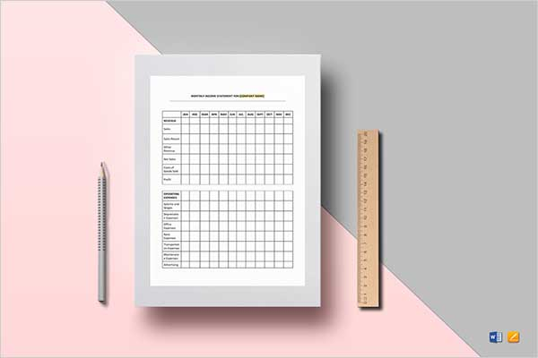 Personal Monthly Income Statement Template