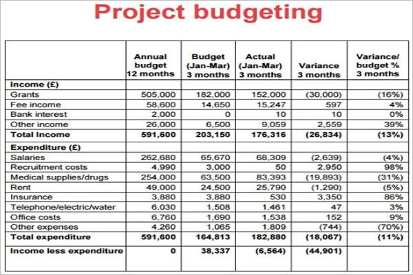 Planning Project Budget Template