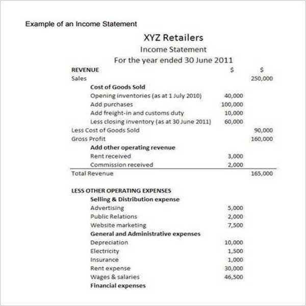 Printable Monthly Income Statement Format