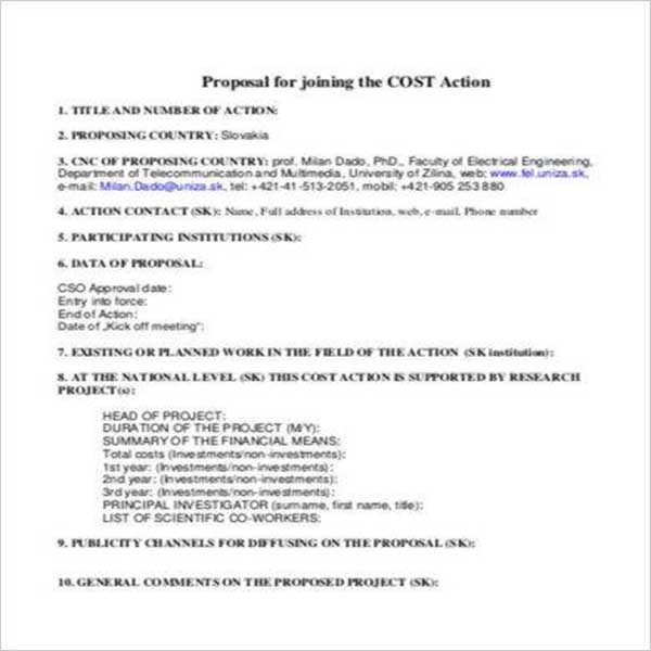Research Cost Proposal Template