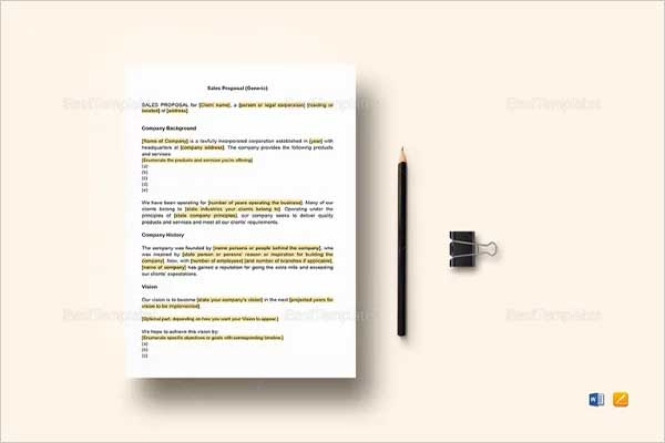 Simple Cost Proposal Template