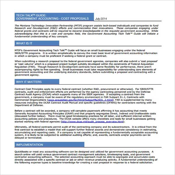 Small Cost Proposal Template