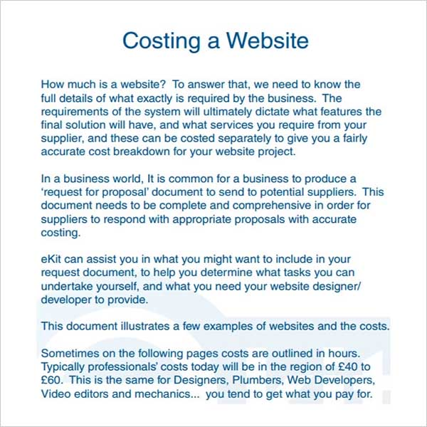 Website Cost Proposal Template