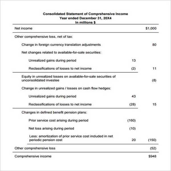 Weekly Income Statement Template