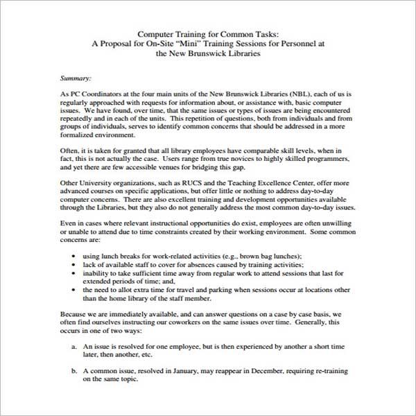 Workshop Training Proposal Template