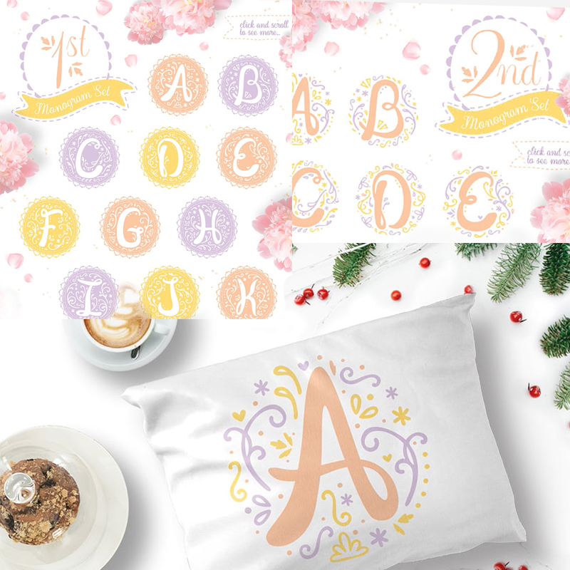 Lovely Monograms: 26 elements in 3 color variations