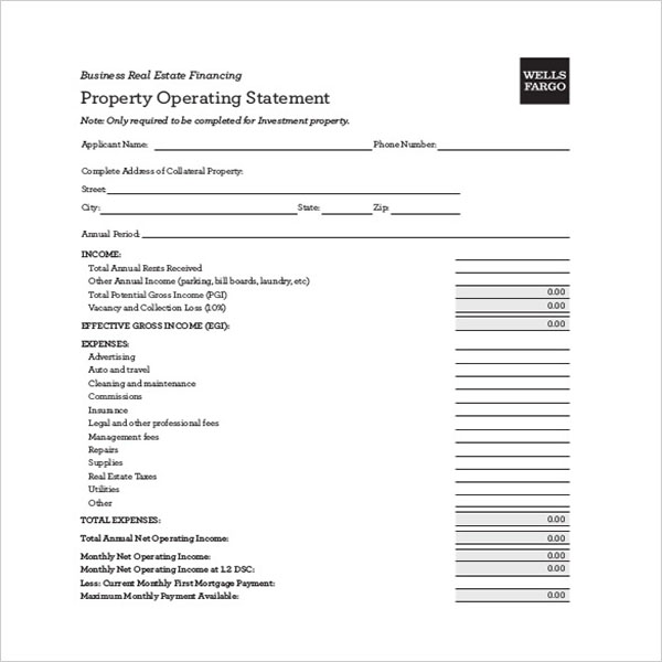Basic Blank Income Statement Template