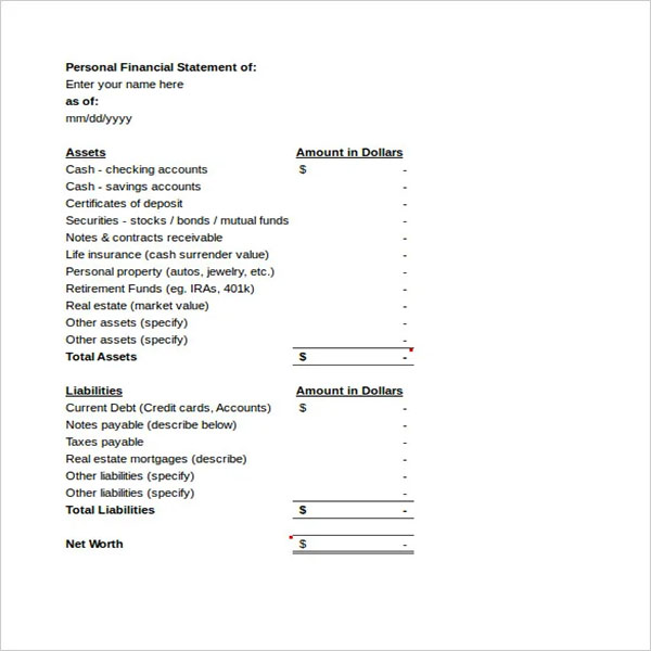 Blank Balance Income Statement Template