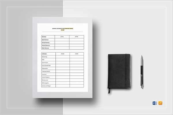 Blank Income Profit Statement Template