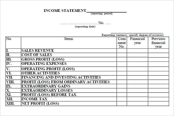 Blank Income Statement Word Template