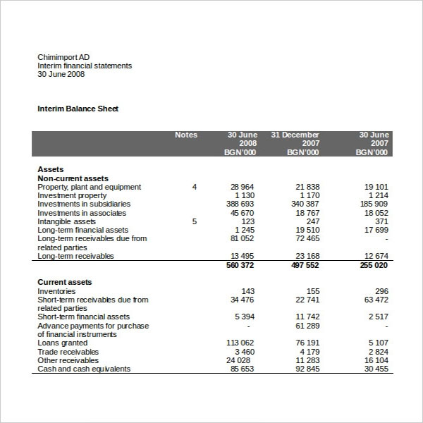 Blank Income Statement Worksheet Template