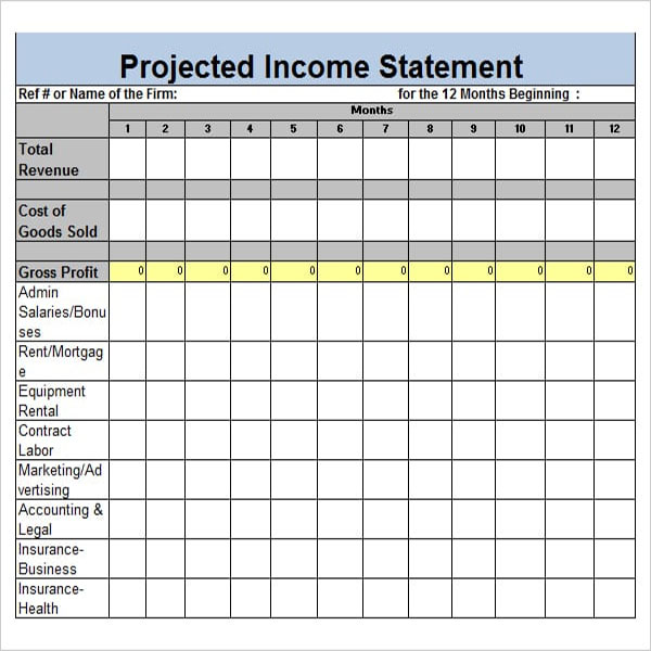 Business Blank Income Statement Template