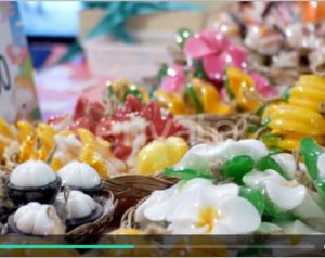 Colorful Thai Handmade Soap in the Form of Exotic Fruit on the Counter Night Market. Thailand
