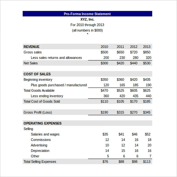 Custom Blank Income Statement Template