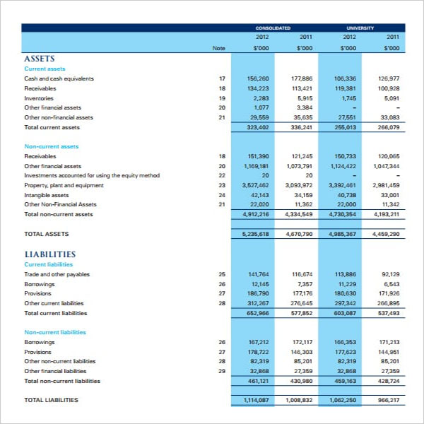 Financial Blank Income Statement Template
