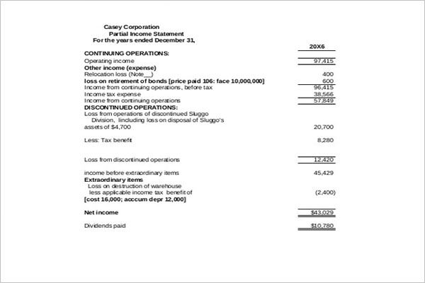 Net Income Statement Template