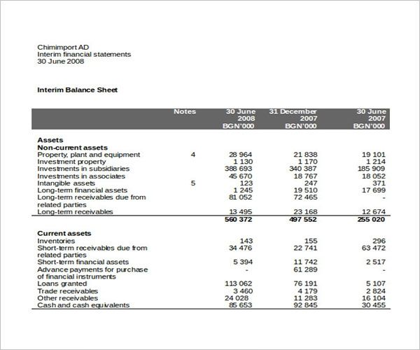 Office Income Statement Template