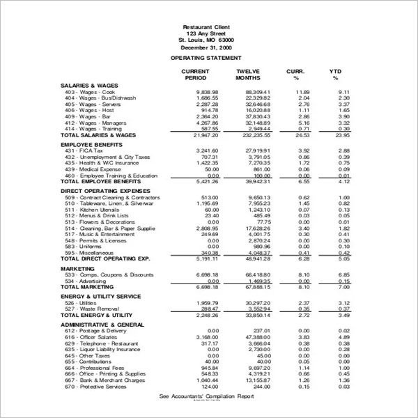 Restaurant Income Statement Template PDF