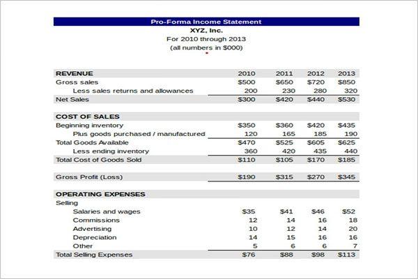 Revenue Income Statement Template