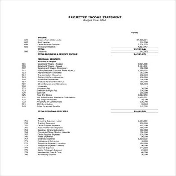 Sample Blank Income Statement Template