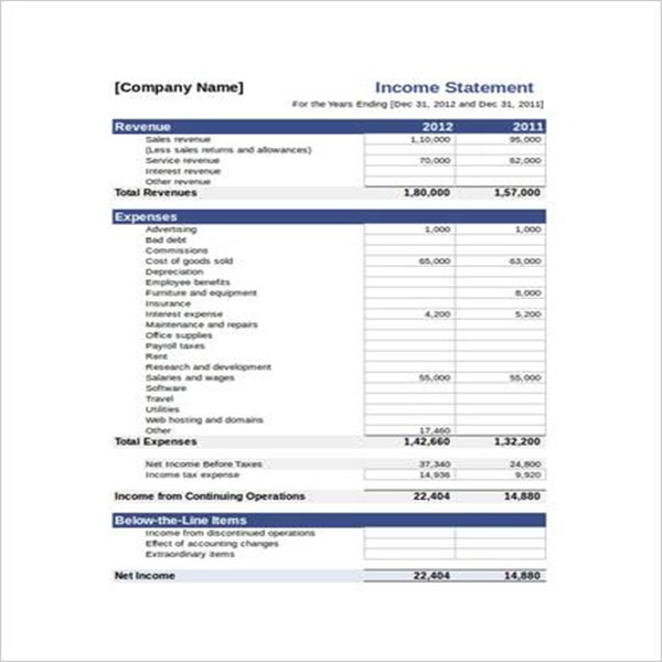 Simple Blank Income Statement Template