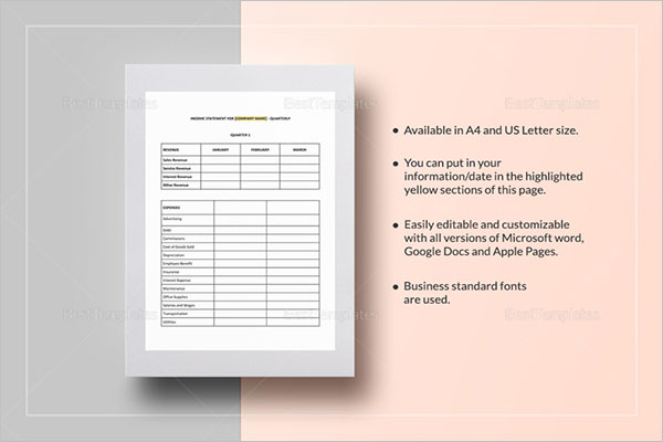 Standard Income Statement Template