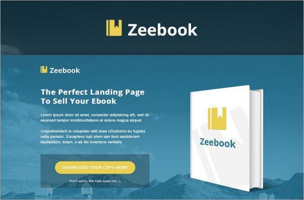 Zeebook eBook PSD Landing Page